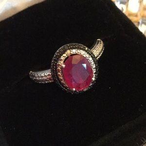 Genuine Rich Red Ruby & Diamond Ring !